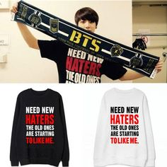 """BTS JUNG KOOK """" Need new haters """" Sweaters"""