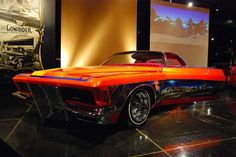 """Joe's 1971 Buick Rivera called """"Dressed to Kill"""" has a coffin in the car and the steering wheel is the shape of a coffin as well."""