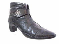 JOSEPH SEIBEL Black Leather Strap Over Ankle Boots Size 42 #JosephSEIBEL #AnkleBoots