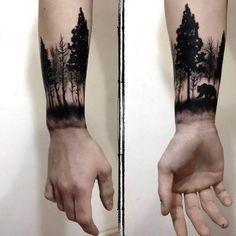 Bear in Forest Tattoo Idea