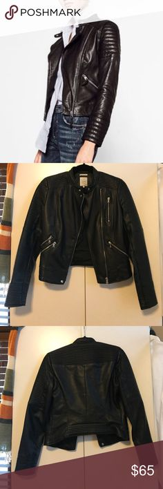 Zara TRF Black Leather Jacket Purchased a year ago but rarely worn. In mint condition! Has 3 functional pockets (of the two parallel zippers on the right side, only one is a real pocket). Made of a soft faux leather, machine washable (!!!), with an inner lining throughout. Zara Jackets & Coats