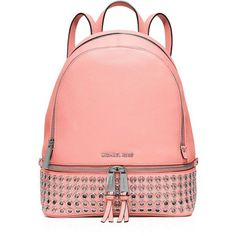 Michael Michael Kors Medium Rhea Zip Grommet Backpack (1.515 RON) ❤ liked on Polyvore featuring bags, backpacks, pale pink, backpacks bags, zipper backpack, genuine leather backpack, leather daypack and leather zip backpack