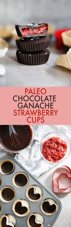 These decadent Paleo Chocolate Strawberry Cups are made with easy 2-ingredient chocolate ganache and homemade chia jam. They are easy to make, kid-friendly, and SO delicious.