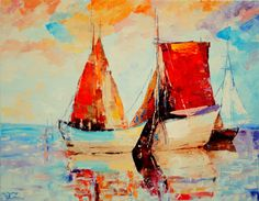 """oil painting, modern art, """"Scarlet Sails"""", canvas art, paintings on canvas, wall…"""