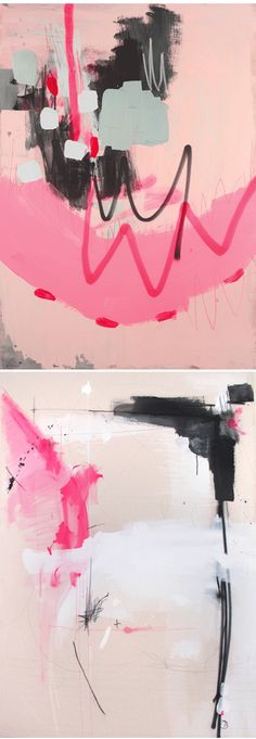 …ok, wait… I have to say more! Not only are these gorgeous mixed media pieces {acrylic, graphite, pastel, and spraypaint on canvas}, by Argentina born-Brooklyn based artist Fede Saenz, a stunning yet simple palette of pink, black, and white, they are also really, really BIG! They're all approximately 48″ x 68″