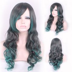 65センチファッションセクシーなロングカーリー波状コスプレ傾いfrisette女性かつらヘアウィッグ女の子ギフト黒緑オンブル