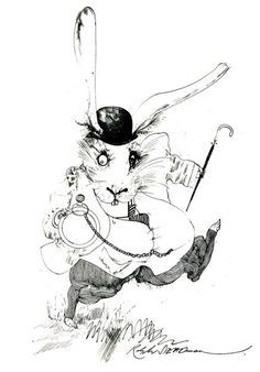 """The artist says that his inspiration for The White Rabbit comes from todays commuter, """"worried by time, hurrying and scurrying. Sane within ..."""