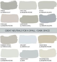 Neutral Paint Color for Small Spaces. Serena and Lily Greige, Gray Owl Benjamin Moore. Aloof Sherwin Williams. Portland Benjamin Moore. Lamp Room Farrow and Ball. Jubilee Sherwin Williams. Purebeck Stone Farrow and Ball. Spin Drift Serena and Lily. Grant Beige Benjamin Moore. Horizon Benjamin Moore. French Gray Behr. November Rain Benjamin Moore. Via Style by Emily Henderson. #PaintColor #SamllSpaces #Paintcolorforsmallspaces #PaintColorIdeas by rebecca2
