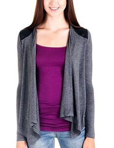 Caramel Cantina Juniors Lightweight Cardigan with Faux Leather Details (Large, Heather Charcoal/Black) Caramel Cantina http://www.amazon.com/dp/B00MGXAQT4/ref=cm_sw_r_pi_dp_mm79vb1JAATZH