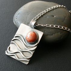 Sunstone and Sterling Silver Pendant Necklace  by CoriluDesigns