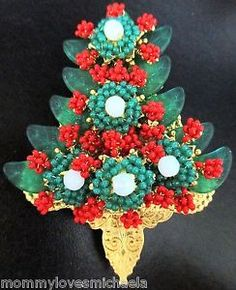 STANLEY HAGLER Red & Green Glass Bead Christmas Tree Pin | eBay