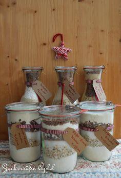 Backmischungen im Glas, Geschenke im Glas, Backmischungen, Brownies, Muffins, Backen, Geschenke, Rezepte, Geburtstag, Valentinstag, Muttertag, Winter