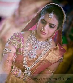 Look at this golden sari, I'm thinking we can do a traditional blouse but look at the sari. Gorgeous Bride in Diamond Wedding Jewelry