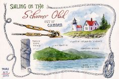 ROPE BORDER - A sailing trip on Penobscot Bay in Maine is portrayed on this theme page with a nautical rope border. By Leslie Fehling.