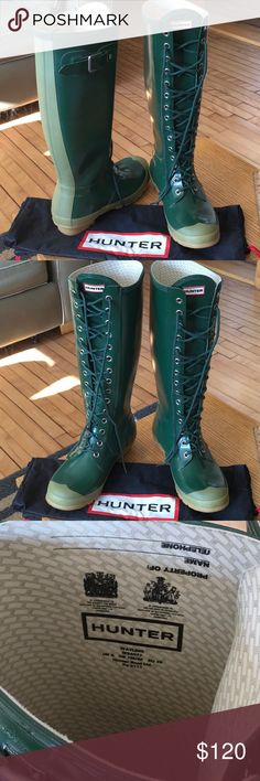 Green lace up waterproof hunter boots & dust bag Calf length hunter lace up boots, never worn. Nothing is wrong with them, I'm just a size 6 so they're too big on me. I do feel that they would fit a 7 1/2 or 8 fine though. Comes with hunter dust bag for easy storage and travel. My loss is your gain, hope you love them! Hunter Boots Shoes Winter & Rain Boots