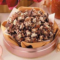 Chocolaty Popcorn Recipe -Pack this irresistible snack into wax or plastic bags and tie them shut with curling ribbons for a pretty presentation. You could also prepare a batch or two for a holiday bake sale. I guarantee it'll go quickly!
