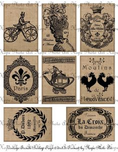 Vintage French Burlap Tags 2.5x3.5 Digital Collage Sheet - Marie Antoinette Paris Roosters teapot greeting tags Atc Aceo - U print sh66