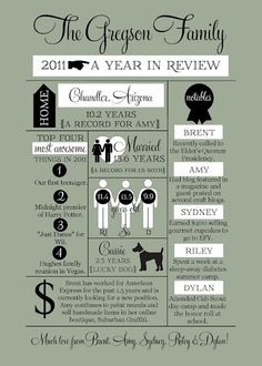 Infographic-style Year In Review family newsletter