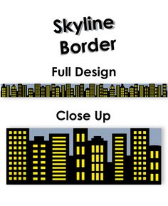 Add pizzazz to bulletin boards, doors, and common areas with our City Skyline border. This border features high rise buildings in a night time city setting. Great for superhero or city themed displays and party decorating.