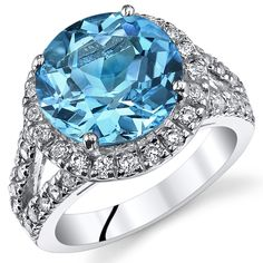 5.75Ct Genuine Round Swiss Blue Topaz Sterling Silver Ring Sizes 5 to 9 SR11060 #SilverMasterpiece #Halo