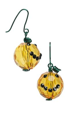 Earrings with Acrylic Beads, Swarovski Crystal Flat Backs and Wire Wrap