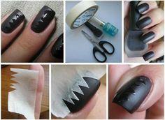 Zwarte nagels, mat en glans leuk effect