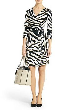 DVF | Effortlessly chic every time, the New Julian Two wrap dress in zebra shadow black is a modern take on a DVF classic.  http://on.dvf.com/1ap4HbS