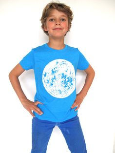 Lucky Fish Neon Blue Tee with Glow in the Dark Moon