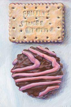 by JoelPenkman on Etsy Cookie Drawing, Candy Drawing, Food Drawing, Joel Penkman, Biscuits, Original Artwork, Original Paintings, Food Hub, Observational Drawing