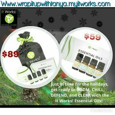 Just in time for the holidays, get ready to BOOM, CHILL, DEFEND, and CLEAR with the It Works! Essential Oils! Www.wrapitupwithtanya.myitworks.com