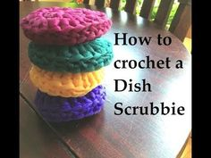 ▶ How to Crochet a Dish Scrubbie - YouTube (CarmenBeeCrochet)