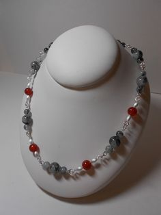 "Laura's European Jewellery   21""  Black Rutilated Quartz and Carnelian set in Sterling Silver  $300.00"