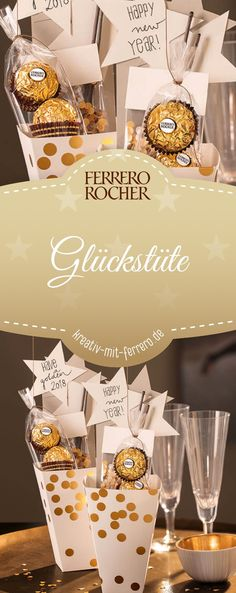 Glückstüte: Neujahrswünsche in stilvollem Kleid. Entdecken Sie diese Dekoidee… Lucky bag: New Year's wishes in a stylish dress. Discover this deco idea by Ferrero for individual lucky bags and surprise your New Year's Eve guests Year's Eve Rocher Diy Crafts To Do, Upcycled Crafts, Crafts For Kids, New Year Wishes, New Year Gifts, Diy Silvester, Party Silvester, Bff, Halloween Mason Jars