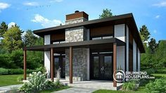 Small modern cabin or small contemporary home, 2 bedrooms, open floor plan, fireplace, large covered patio (# 1909)  http://www.drummondhouseplans.com/house-plan-detail/info/bonzai-contemporary-1003187.html