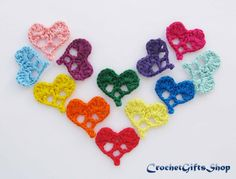 Crochet pattern heart Set Applique Valentine от crochetgiftsshop