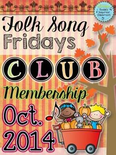 Folk Song Fridays Club Membership - October 2014: Folk Song Fridays Club Membership was created as a fun way to build up your folk song collection and get practical ideas for teaching these songs. When I look through folk song books, I am not always immediately inspired about how to use them in my classroom. Hopefully this will give you some new songs, games, and visuals for your collection, as well as help you figure out how and why you should teach them. #kodaly #elemused #musedchat