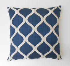 Navy blue tufted trellis decorative pillow by pillowflightpdx