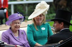 Queen Elizabeth, Autumn Phillips and Peter Phillips, arrive at Royal Ascot 2013 for Ladie's Day