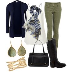 Olive green pants blue cardigan black boots outfit