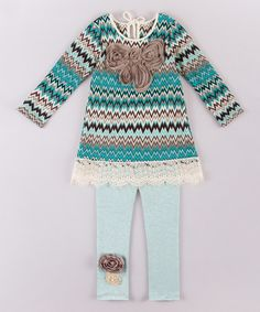 Look what I found on #zulily! Teal & Gray Chevron Tunic & Leggings - Toddler & Girls #zulilyfinds