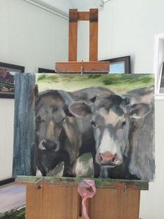 I like my cows. They're beginning to come to life. Such lovely animals. Cow Painting, Cows, Moose Art, Original Art, Paintings, Fine Art, Animals, Life, Cow Wall Art