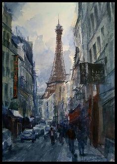 Rue parisienne avec vue sur la Tour Eiffel…  Aissam ---- 2017
