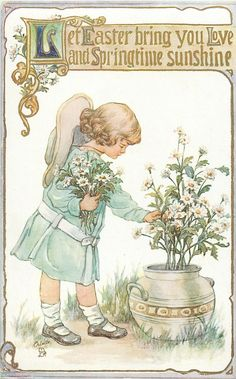"""Let Easter bring you Love and Springtime sunshine,"" girl picks daisies. 1914.  C.M. Burd ~ artist."