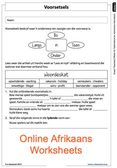 Education worksheets for Grade R - 12 - E-Classroom Afrikaans Language, Teachers Aide, School Worksheets, Social Science, Teaching Tips, Kids Education, Life Skills, Kids Learning, Classroom