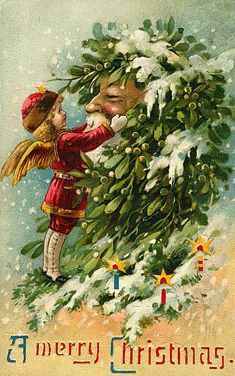 Vintage Christmas Card  looks like it would make a really awesome Yule card…