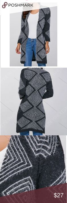 """Open Front Gray and White Cardigan. Open Front Gray and White Cardigan. Bust 36"""".  Length 36"""".  2/3 length sleeve at 16"""".  Polyester.  Warm and cozy in geometric pattern.  Gorgeous. Sweaters Cardigans"""