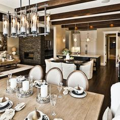 contemporary dining room by Marcson Homes Ltd. LOVE LOVE LOVE buy- hurricanes for center of table