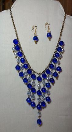 cobalt blue beaded bib necklace
