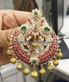 Diamond Nakshi work Pendant - Jewellery Designs