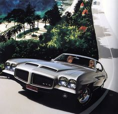 1971 Pontiac GTO Hardtop Coupe - 'Road to Eze II': Art Fitzpatrick and Van Kaufman - Back on the Haute Corniche. We painted three versions; one jumps the magazine gutter to become a black-and-white page.